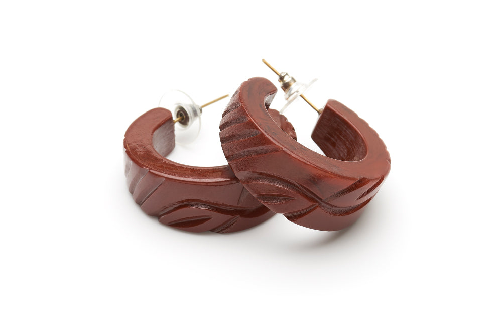 Tobacco Heavy Carve Fakelite Hoop Earrings
