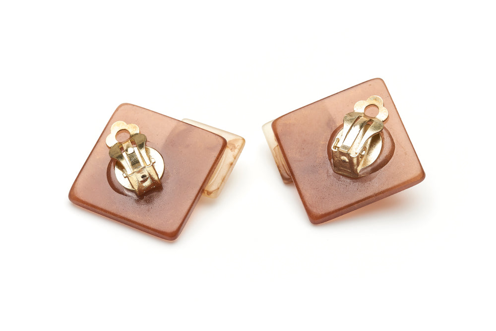 Golden Chocolate Fakelite Clip Earrings