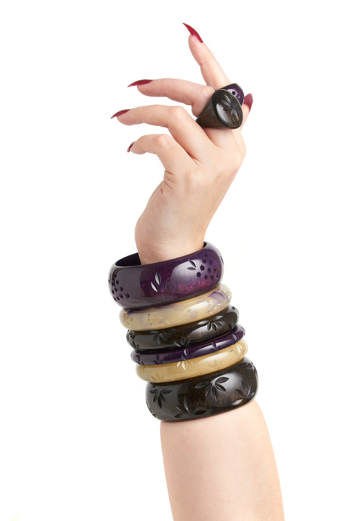 Midi Grape Crème Fakelite Bangle