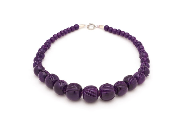 Carved Deep Purple Fakelite Beads