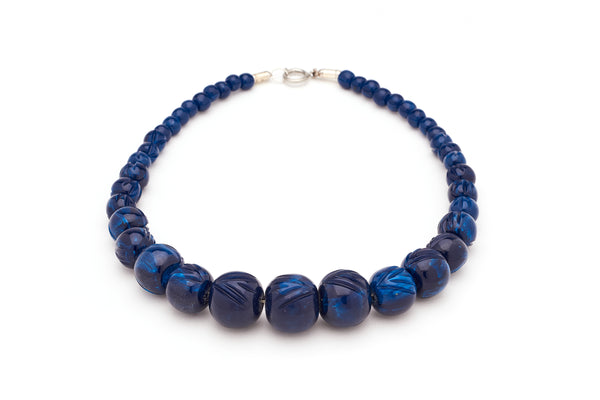 Carved Navy Fakelite Beads