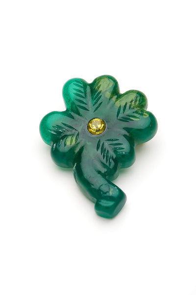 Carved Deep Green Fakelite Clover Brooch