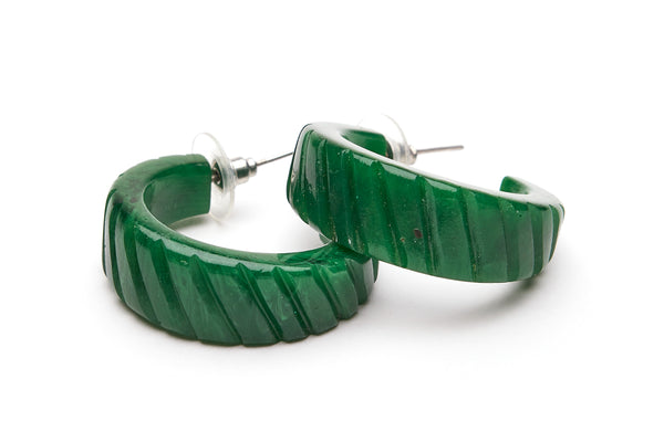 Deep Green Fakelite Hoop Earrings