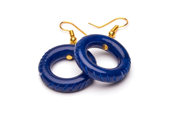 Small Navy Fakelite Hoop Earrings