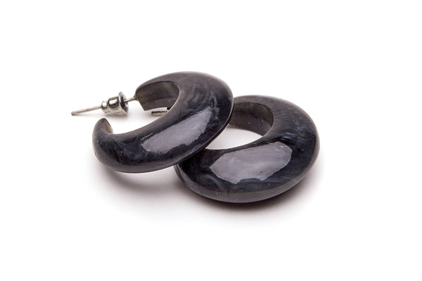 Small Charcoal Fakelite Hoop Earrings