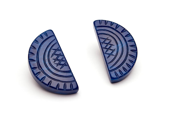Navy Fakelite Clip On Earrings