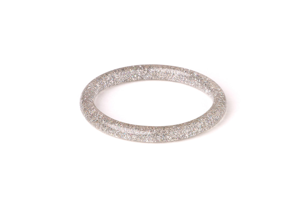 Narrow Silver Glitter Bangle