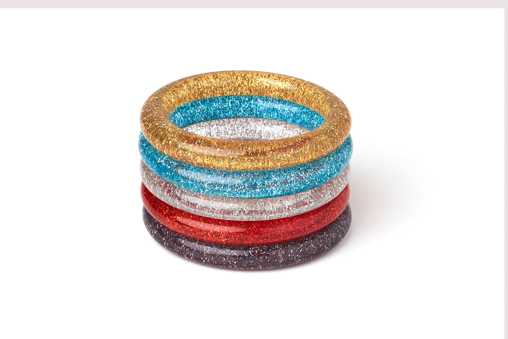 New Narrow Pale Gold Glitter Bangle