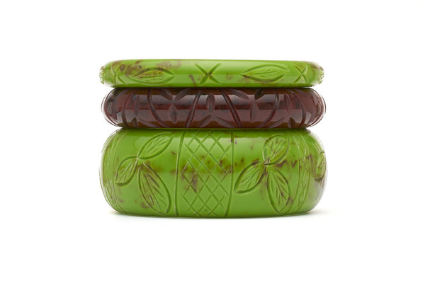 Stack of bakelite style maiden bangles in alder and mouse