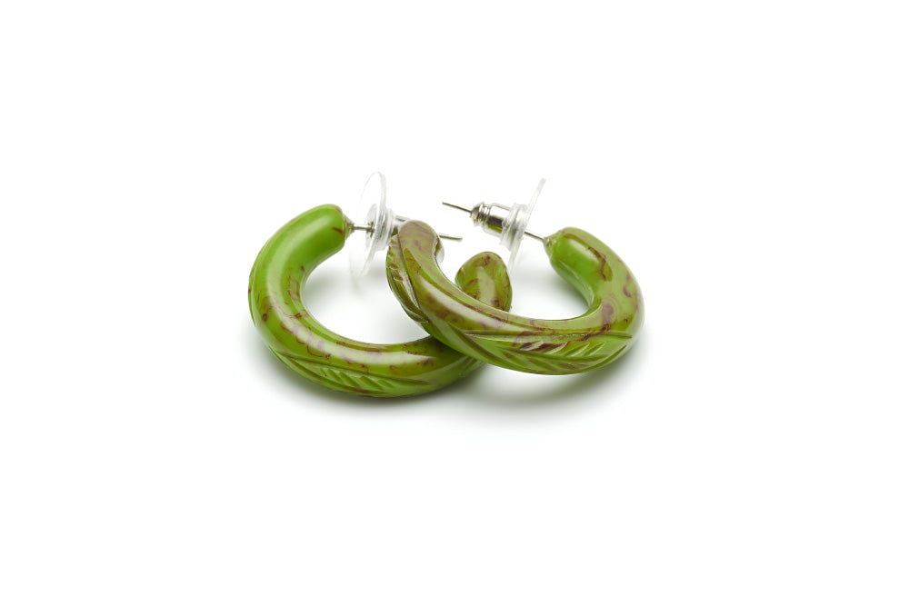 Bakelite style hoop earrings in alder green