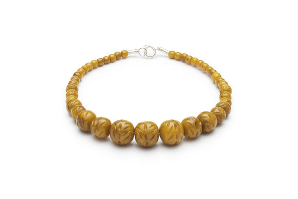Carved Banoffee Fakelite Beads