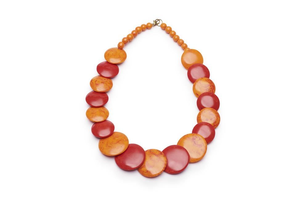 Blood Orange Fakelite Disc Necklace