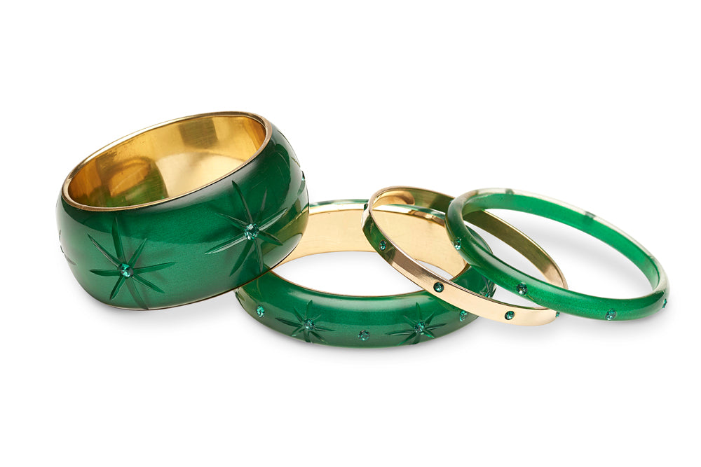Narrow Emerald Moonglow Bangle
