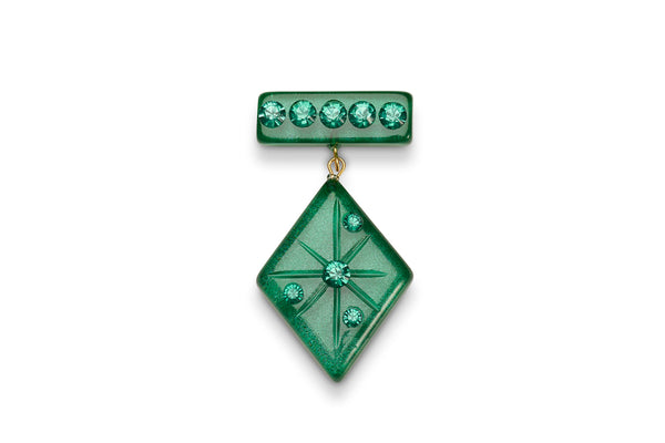 Emerald Moonglow Starburst Brooch