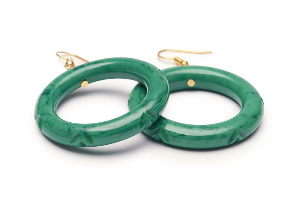 Malachite Fakelite Hoop Earrings