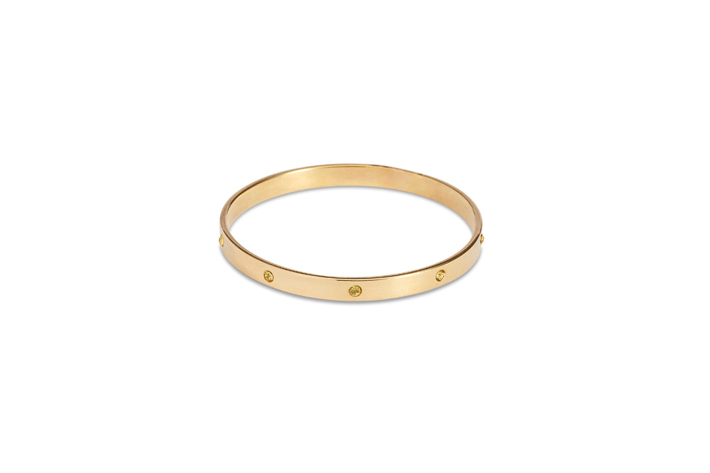 Gold Bangle With Champagne Diamantes