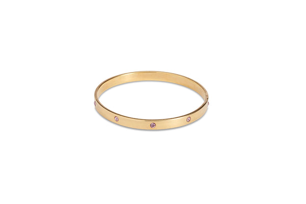 Gold Bangle With Dusty Pink Diamantes