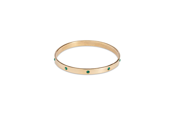 Gold Bangle with Emerald Diamantes