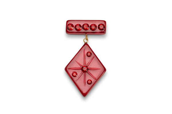 Ruby Moonglow Starburst Brooch