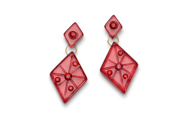 Ruby Moonglow Starburst Earrings
