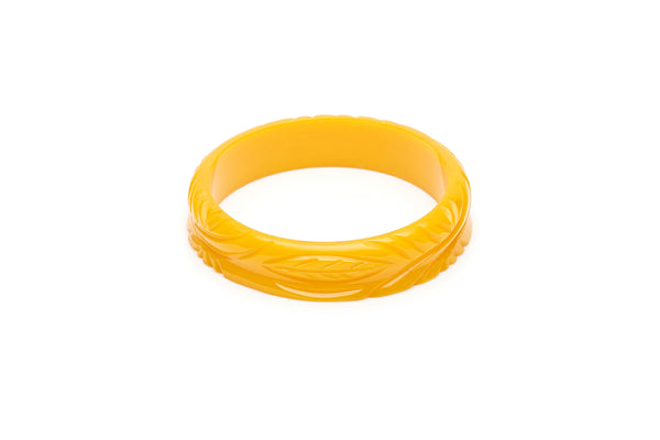 1940s style yellow yolk heavy carve midi bangle