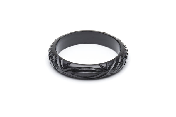 1940s style black heavy carve midi bangle