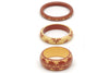 Splendette vintage inspired 1950s Western style brown and cream carved Duotone fakelite Café & Lait Set of 3 Bangles