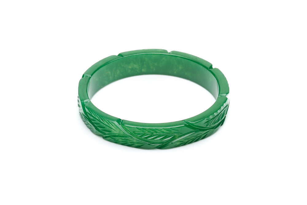 1940s style forest green heavy carve midi duchess bangle