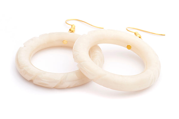 Pearl Carved Hoop Earrings