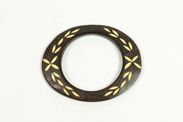 Carved Dark Wood Oval Bangle