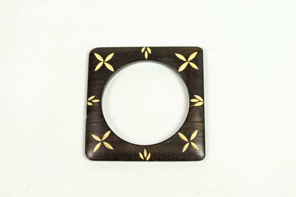 Carved Dark Wood Square Bangle