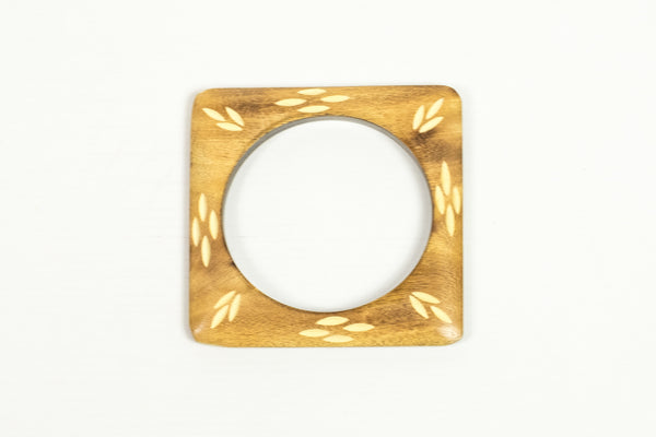 Carved Light Wood Square Bangle