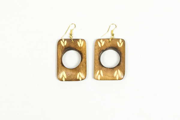 Carved Rectangular Light Wood Earrings