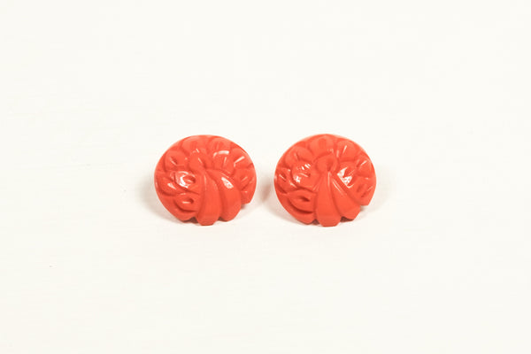 Coral Fakelite Button Earrings