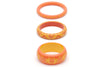 Splendette vintage inspired 1950s Bakelite style carved peachy orange Duotone fakelite Freesia & Honeysuckle Set of 3 Bangles