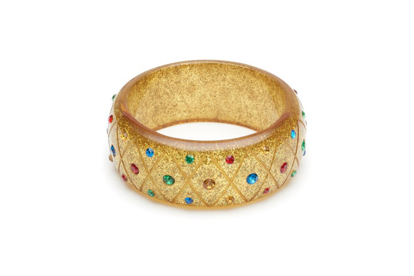 Wide Rainbow Jewel Carved Gold Glitter Bangle