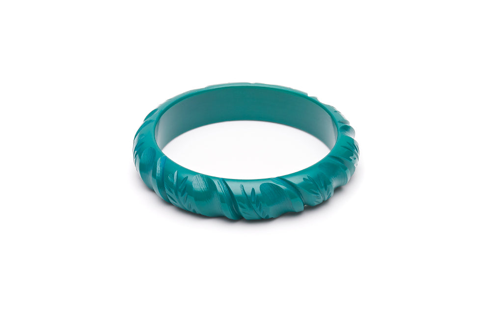 1950s style jade green midi heavy carve bangle