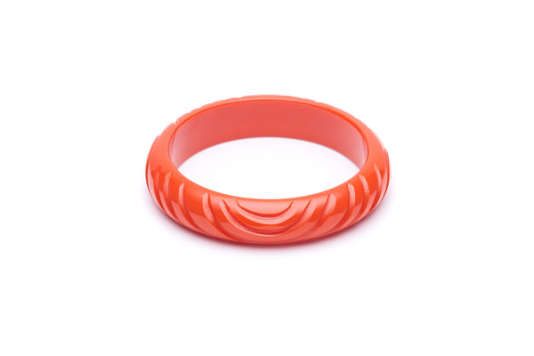1940s style papaya orange heavy carve midi bangle