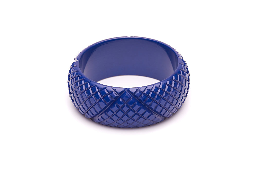 1940s style indigo blue heavy carve wide bangle