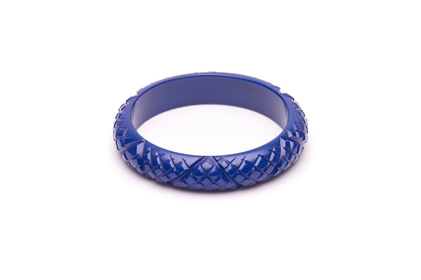 1940s style indigo blue heavy carve midi bangle