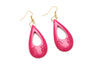 1950s style iris pink fakelite drop earrings