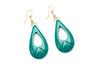 1950s style jade green heavy carve drop earrings