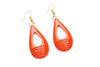 1940s style papaya orange heavy carve drop earrings