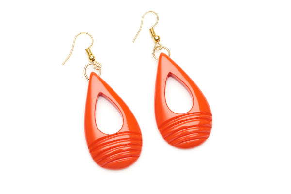 1950s style papaya orange heavy carve drop earrings