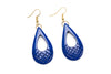 1940s style indigo blue heavy carve drop earrings