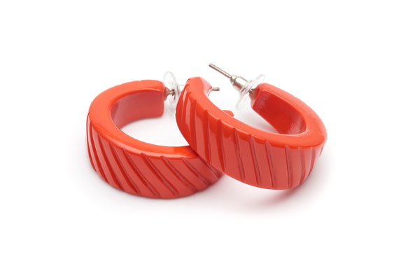 1950s style papaya orange heavy carve hoop earrings