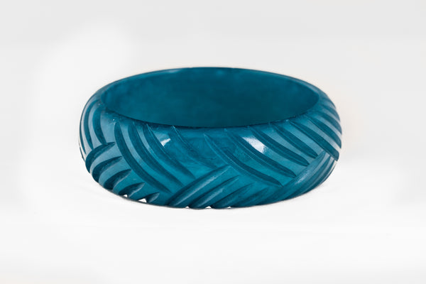 Wide Teal Fakelite Bangle