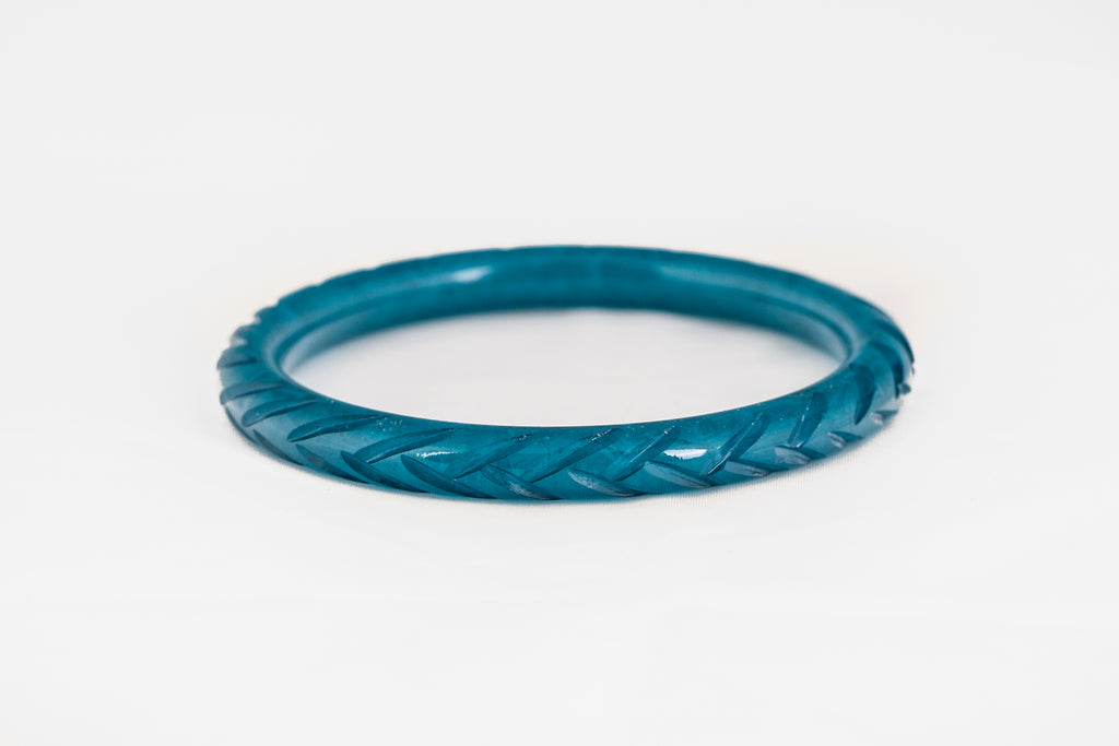 Narrow Teal Fakelite Bangle