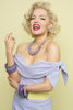 Marilyn Monroe lookalike Suzie Kennedy in Amethyst and Lilac Fakelite
