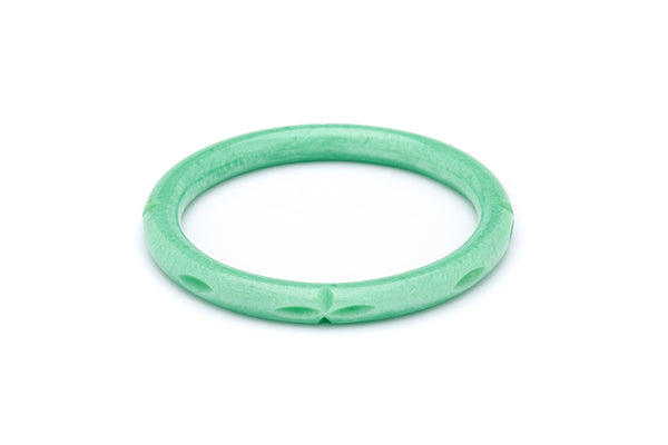Narrow Minty Carved Bangle